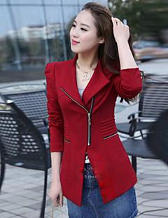 여성의 솔리드 V 넥 / 셔츠 카라 긴 소매 코트 레드 / 블랙 / 옐로 면 / 폴리에스테르 / 나일론 겨울 중간