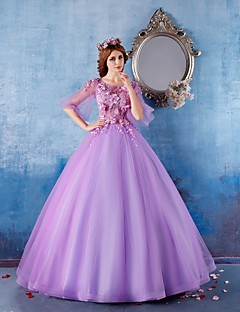 Formal Evening Dress - Lilac Ball Gown Scoop Floor-length Satin