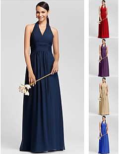 Bridesmaid Dress Floor Length Chiffon Sheath Column Halter Dress