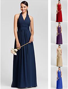 Vestido de Madrinha - Vermelho/Uva/Azul Real/Champanhe/Azul Marinho Escuro Tubo/Coluna V profundo/Decote em V Longo ChiffonTamanhos