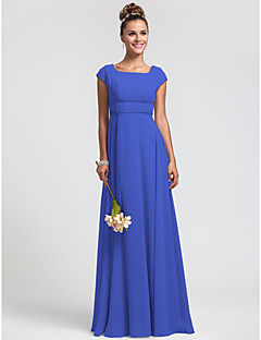 LAN TING BRIDE Floor-length Chiffon Bridesmaid Dress - Sheath / Column Square Plus Size / Petite