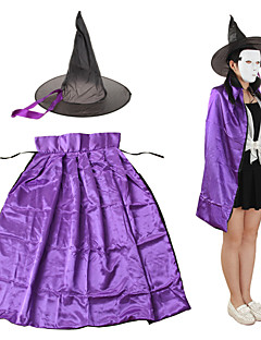 90cm Length Christmas Easter Halloween Cosplay Double-sided Witch Cloak w/ Hat for Kids - Black + Purple