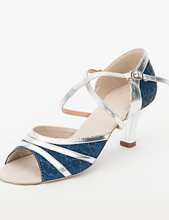 anpassa prestanda dansskor konstläder / PALJETT övre latinska skor för kvinnor