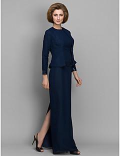 Vestido Para Mãe dos Noivos - Azul Marinho Escuro Tubo/Coluna Longo Manga Comprida Chiffon