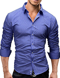 Men's Print / Plaids Casual / Work / Formal Shirt,Cotton Blend Long Sleeve Blue