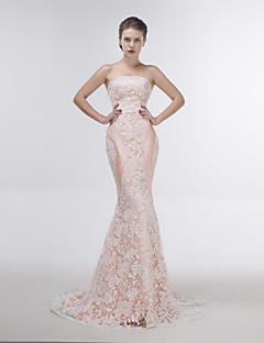 Dress - Blushing Pink Trumpet/Mermaid Strapless Sweep/Brush Train Lace