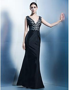 Kleid - Wie Bild Taft - Meerjungfrau-Linie / Mermaid-Stil - bodenlang - V-Ausschnitt