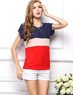 Informeel/Zakelijk Rond - VROUWEN - T-shirts ( Polyester )met Korte Mouw