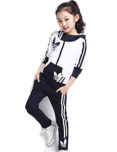 Girl's Print Stitching Contrast Color Hoodie Sport Long Sleeve Clothing Sets(Coat&Pants,Cotton)