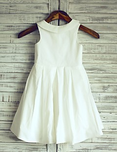 A-line Knee-length Flower Girl Dress - Cotton Sleeveless Jewel with