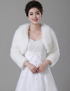 Wedding  Wraps / Fur Wraps Coats/Jackets Long Sleeve Faux Fur White Wedding Wide collar Feathers / fur