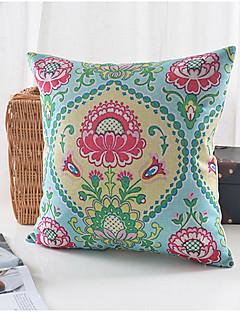 fleurs champêtres motif coton / lin taie d'oreiller décoratif