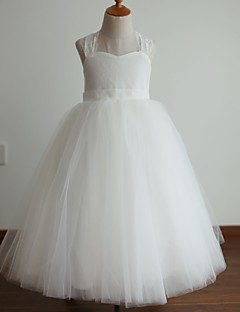 Princess Floor-length Flower Girl Dress - Lace / Satin / Tulle Sleeveless Halter with