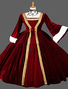 Uma-Peça/Vestidos Gótica Steampunk® / Vitoriano Cosplay Vestidos Lolita Vermelho Vintage Manga Comprida Comprimento Longo Vestido Para