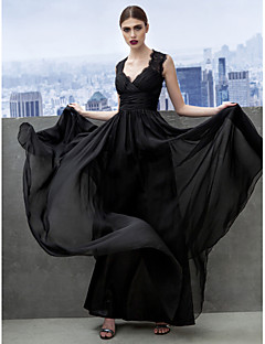Formal Evening Dress - Black A-line Sweetheart Floor-length Chiffon