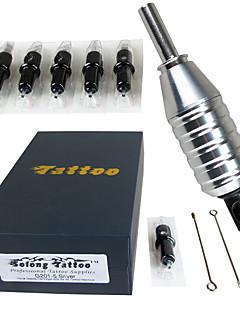 """solong tatovering aluminiumslegering tatovering maskingevær grep 1 """"(25mm) + 5pieces øyenbryn nåler justerbare for hawk nåler"""