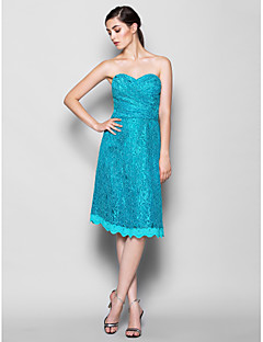 Knee-length Lace Bridesmaid Dress - Jade Plus Sizes / Petite Sheath/Column Sweetheart