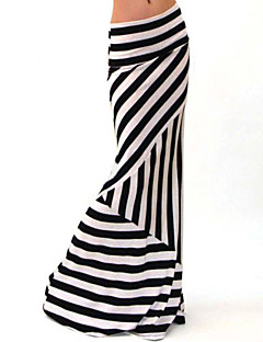 Women's Striped Black Skirts , Vintage / Bodycon / Casual Maxi