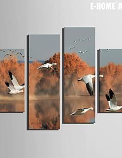 e-FOYER toile tendue es le vol d'oies sauvages sur le lac de peinture décoration ensemble de 4