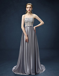 Formeller Abend Kleid - Silber Satin - A-Linie - Sweep / Pinsel Zug - trägerloser Ausschnitt
