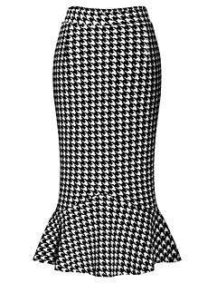 Vardag Midi Kjolar Kvinnors Microelastisk Bomull / Polyester