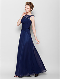 Sheath/Column Plus Sizes / Petite Mother of the Bride Dress - Dark Navy Floor-length Sleeveless Chiffon