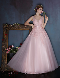 Dress - Dark Navy / Candy Pink A-line V-neck Floor-length Lace / Satin / Tulle