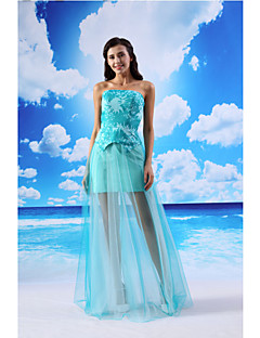 Formal Evening Dress - Jade Sheath/Column Strapless Floor-length Organza/Satin