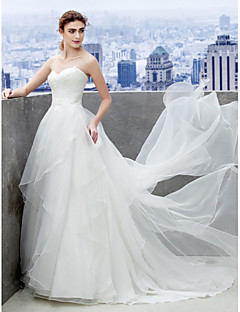 A-line Wedding Dress - Ivory Court Train Sweetheart Organza