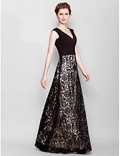 Sheath/Column Plus Sizes / Petite Mother of the Bride Dress - Black Floor-length Sleeveless Lace / Georgette