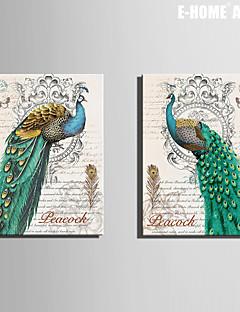 e-FOYER toile tendue art vert paon peinture décorative ensemble de 2