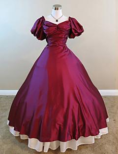 Steampunk®Mid-19th Century Civil War Victorian Period Wine Red Dress Ball Gown Reenactment Dress