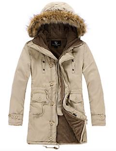 コート ロング パッド入り メンズ,プラスサイズ カジュアル/普段着 ワーク ソリッド コットン コットン 長袖