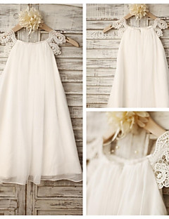 Sheath Knee-length Flower Girl Dress - Chiffon / Lace Sleeveless