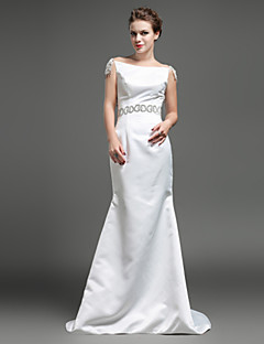 Formal Evening Dress - Ivory Trumpet/Mermaid Bateau Sweep/Brush Train Satin