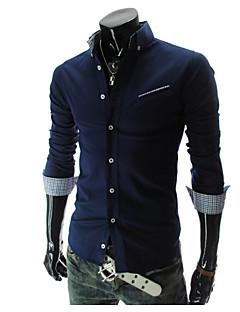 Effen-Informeel / Werk-Heren-Katoen-Overhemd-Lange mouw-Blauw / Wit