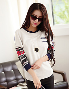 여성의 프린트 라운드 넥 긴 소매 티셔츠,심플 캐쥬얼/데일리 화이트 가을 중간