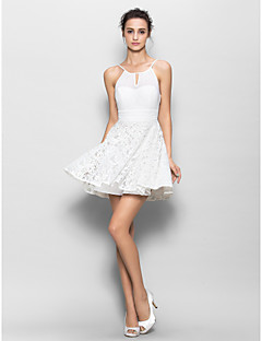 Short/Mini Chiffon / Lace Bridesmaid Dress - White Sheath/Column Spaghetti Straps