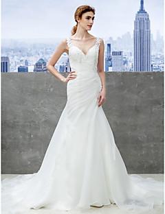 lanting novia trompeta / sirena de la boda vestido de novia capilla tren de organza