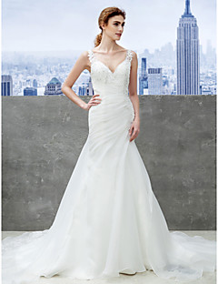 Trumpet/Mermaid Wedding Dress - Ivory Chapel Train Sweetheart Organza