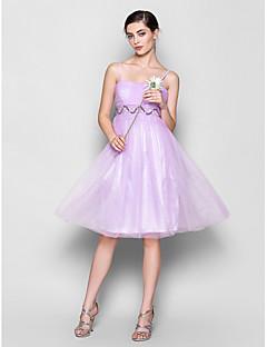 Lanting Bride® Até os Joelhos Chiffon Vestido de Madrinha Linha A Com Alças Finas Tamanhos Grandes / Mignon comMiçangas / Pregueado /