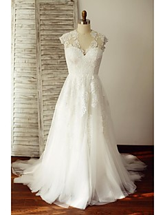 A-라인 웨딩 드레스 스윕 / 브러쉬 트레인 V-넥 레이스 / 튤 와 레이스