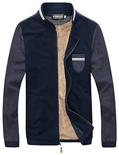 Men's Long Sleeve Casual / Plus Sizes Jacket,Linen Solid Blue / Gray