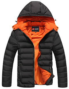 Men's Regular Parka Coat , Cotton Pure Long Sleeve The new cotton-padded jacket to keep warm coat