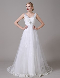 Sheath/Column Wedding Dress - White Sweep/Brush Train V-neck Organza