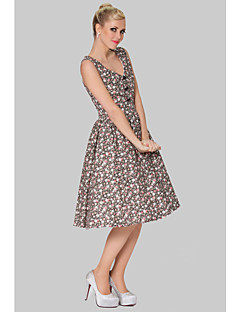 Cocktail Party Dress - Print Plus Sizes A-line V-neck Knee-length Cotton