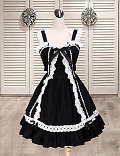 한 조각/드레스 달콤한 로리타 로리타 코스프레 로리타 드레스 패치 워크 컬러 블럭 짧은 소매 중간 길이 드레스 용 면