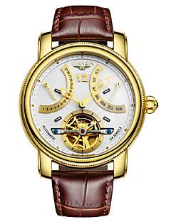 Herren Armbanduhr Automatikaufzug LED / Kalender / Wasserdicht / Transparentes Ziffernblatt Leder Band Vintage Schwarz / Braun Marke-