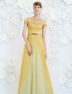 Formal Evening Dress A-line Jewel Floor-length Velvet Chiffon with Sash / Ribbon