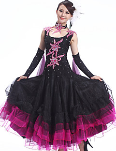 ריקודים סלוניים תלבושות בגדי ריקוד נשים ביצועים ספנדקס קרפ קריסטלים / rhinestones Paillettes קפלים 4 חלקים שמלות Neckwear צמידS:126 M:127